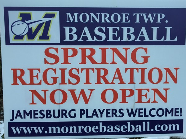 It's that time for Monroe and Jamesburg kids! Spring baseball registration