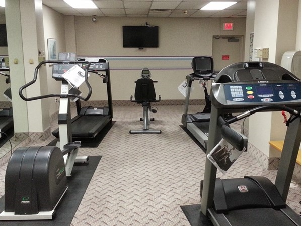 The Cardio Room is clean, well lit and has a flat screen television
