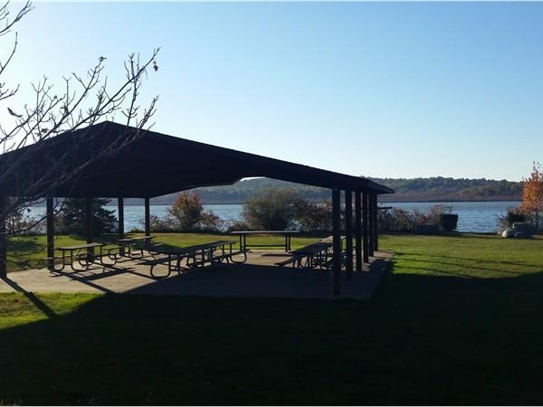 The Budd Lake picnic area overlooking the lake itself