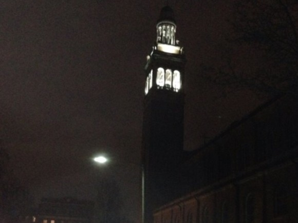Newly lit church steeple, lit in honor of Father Burla 50th anniversay and will stay lit!