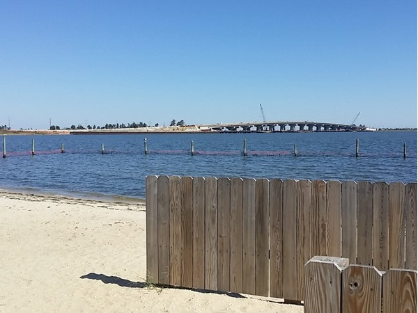 Bay Beach in Beach Haven West with a view of the Long Beach Island bridge