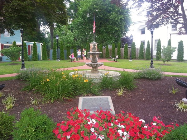A very small park honoring Hamilton's firefighters, on a street corner in Hamilton Square