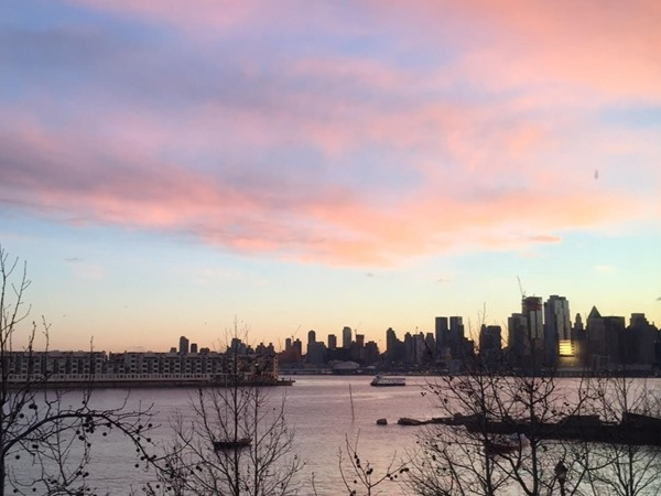 How could you not love the view from Hudson Tea? Sunrise over Manhattan