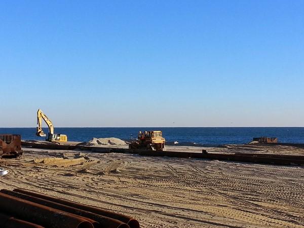 Christmas morning work on the Long Branch beach replenishment
