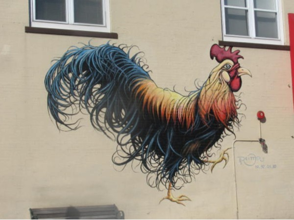 Famous Montclair Rooster, originally painted for chicken take-out place in the 80s, is a town icon
