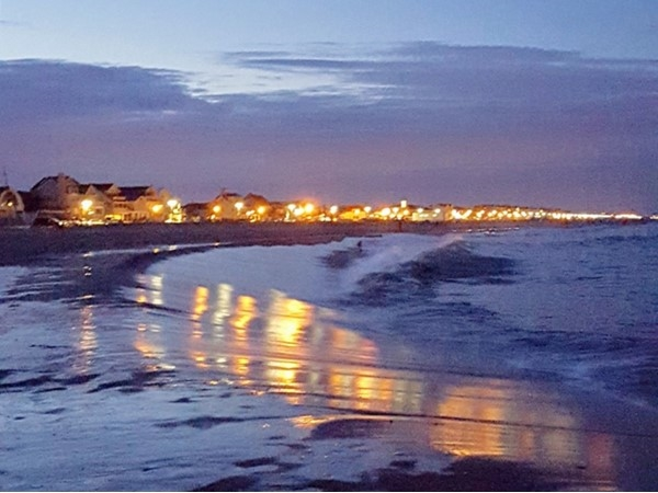 Belmar beachside at night time