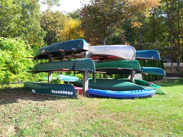 Canoes ready to go on Indian Lake