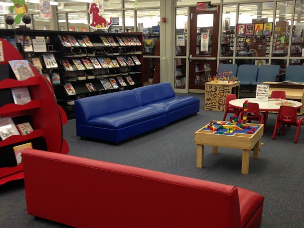 Children's Room at the Hillsborough Township Library- books, playstations & comfortable seating
