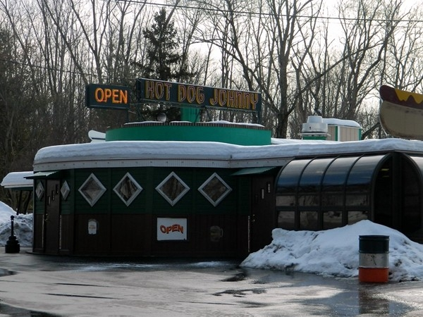When driving Rt 46, Hot Dog Johnny's is a must-stop for an ice cold mug of Birch Beer & famous dog!