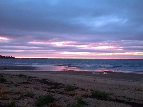Amazing fall sunset over the Raritan Bay from Atlantic Highlands Harbor