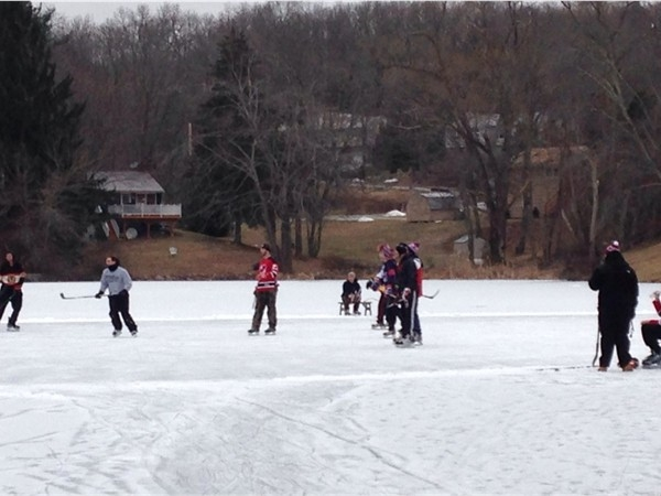 "Ice hockey on one of the ponds in ""The Ponds Community"""