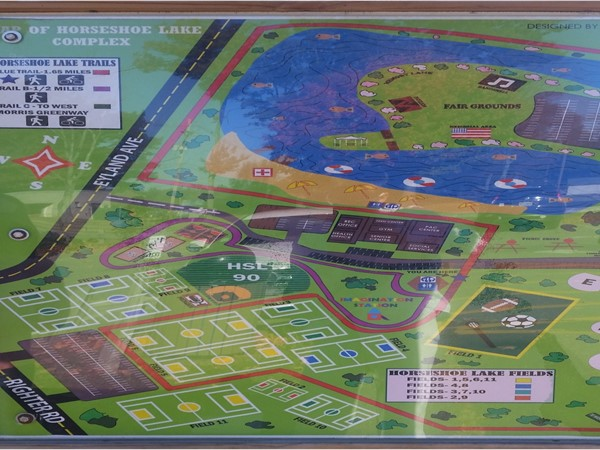A map of Horseshoe Lake Park shows lots of recreation options