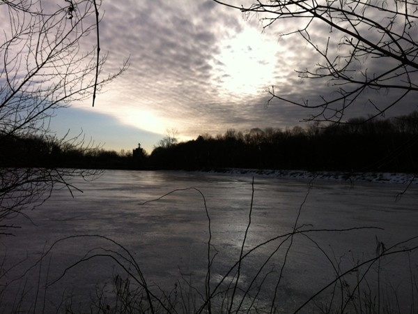Winter sunrise over Drakesville Pond