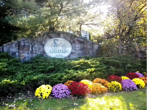 Fall foliage at the entrance to the Gatehouse Development