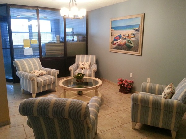 The Anchorage on the Long Branch beachfront has a modern, nicely appointed lobby.
