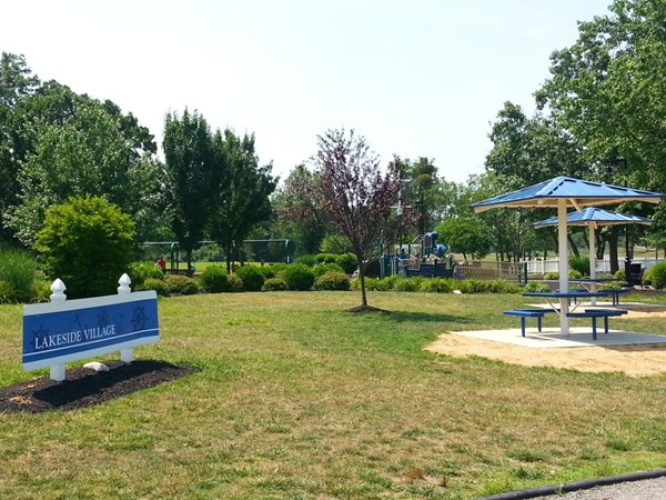 The Lakeside Village picnic area and playground next to the Marina at Mercer County Park