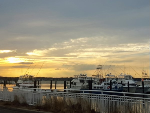 February sundown at the Belmar Marina
