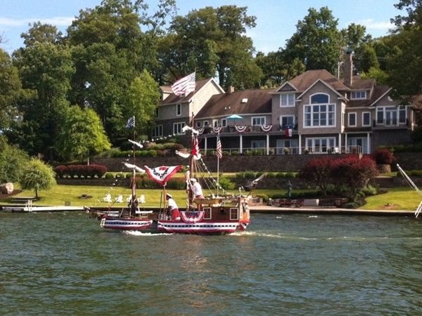 Patriotic boaters navigate Byram Cove over the 4th of July holiday weekend