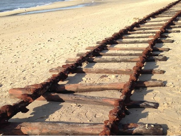 Railroad tracks uncovered at Sunset Beach