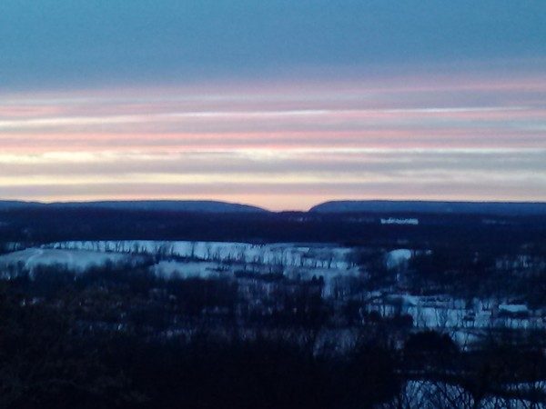A sunset view of the Delaware Water Gap from Sunset Point in Hope Township