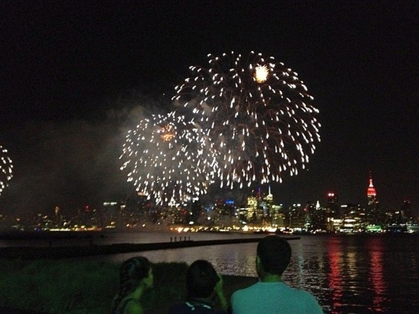 View of the Macys annual 4th of July Fireworks show from Hoboken with Manattan in the background