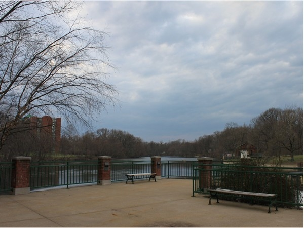 A peaceful area to read or soak in the view at The Mill of Little Falls condominium complex