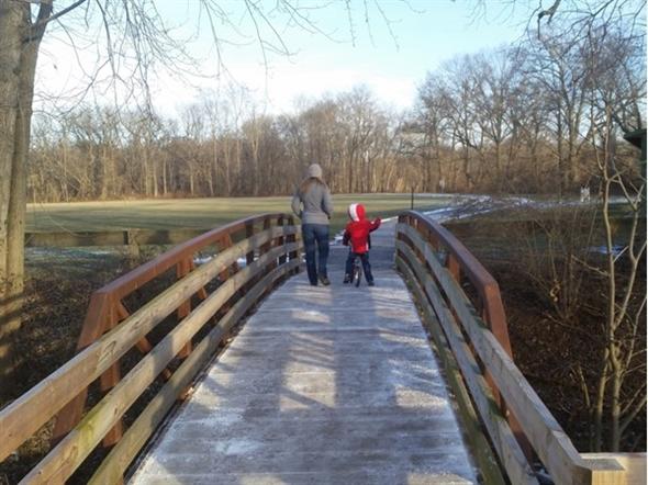 Taking a winter family walk at Duke Island Park - Bridgewater