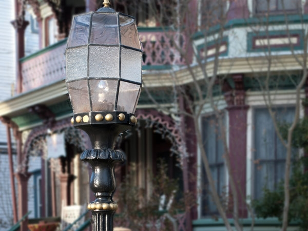 Gas lamps add to the beauty and character of the neighborhood