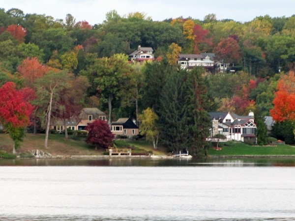 Gorgeous view of Lake Mohawk from the east shore during fall