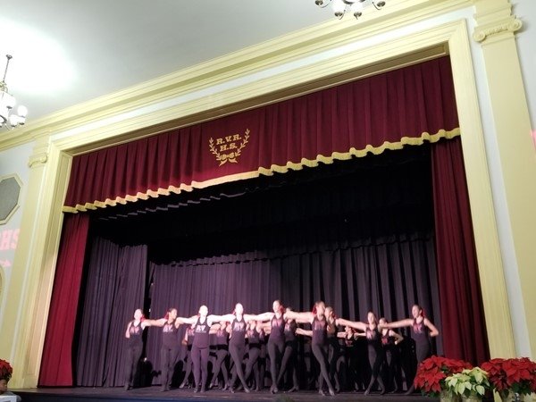 RV dance team preforming for real estate agents at the RVRHS realtor brunch on Tuesday