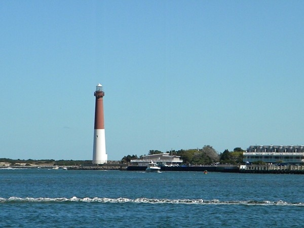 View of the Barnegat Lighhouse from Meyers Hole Anchorage Just inside The Barnegat Inlet