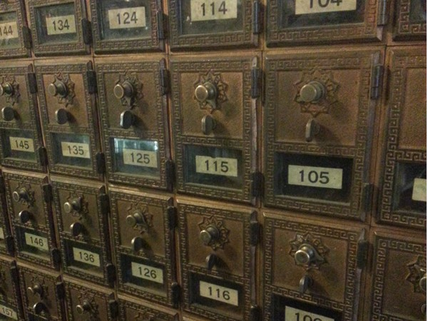 Antique post office boxes at the General Store