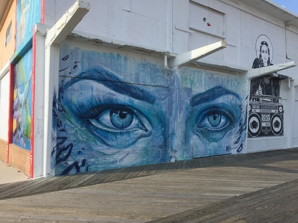 Artwork along the boardwalk of Asbury Park
