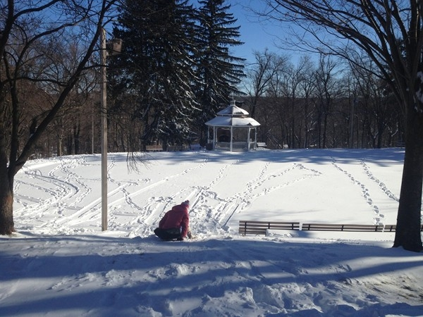 Gazebo and sledding for the little tykes
