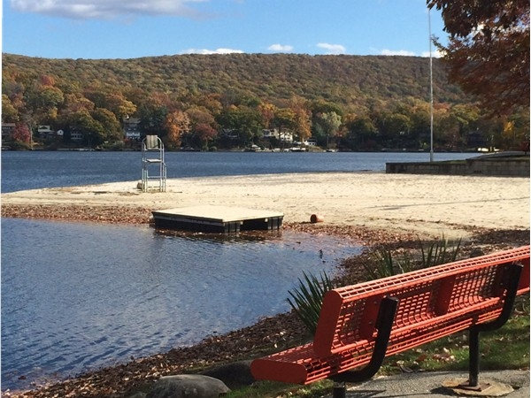 Relax on a bench and take in the view at Erskine Lakes in Ringwood, NJ
