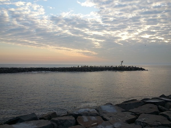A calm spring morning at the Manasquan inlet