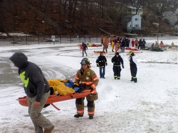 Ice rescue drill on Lake Hopatcong- Hopatcong Police and Fire Departments