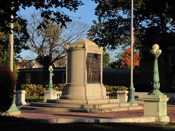 Monument in front of Vail Mansion, South Street, Morristown