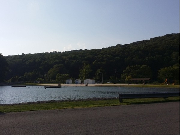 View of the beach at Pleasant Valley Lake