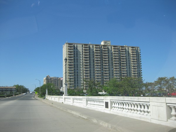 Driving north on Ocean Ave, The Imperial House is the first condo you'll see
