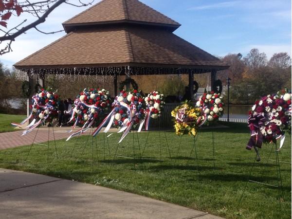 Veterans Day 2013 wreaths at Wampum Park