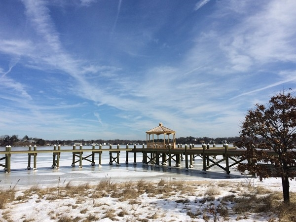 Waterfront gazebo along the Toms River in Pine Beach