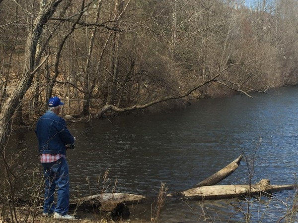 Fishing for bass in the Ramapo River Reserve lake
