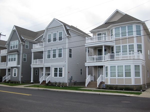 New construction single-family homes along the oceanfront in Long Branch