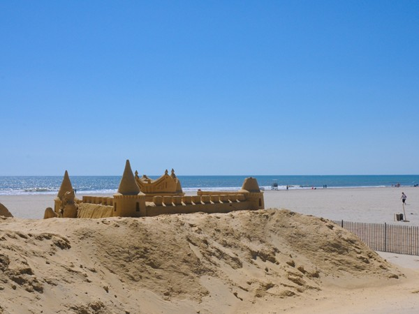 Sandcastles decorate the beach in Atlantic City