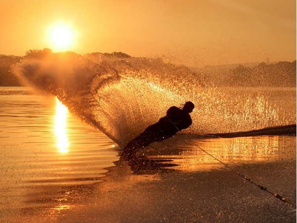 Early morning water ski at Byram Cove