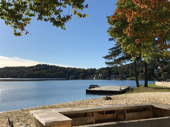 Lake Mohawk in early fall at beach one