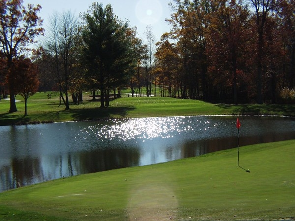 Valley Brook Golf Course 9th par 3 green and tee box beyond water