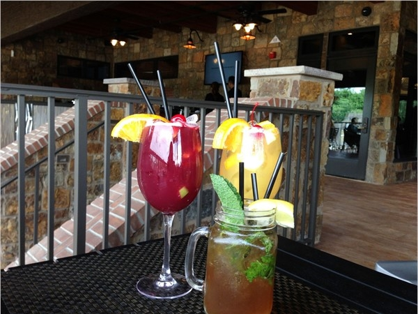 Drinks on the veranda at Rails Steakhouse at Towaco Crossing