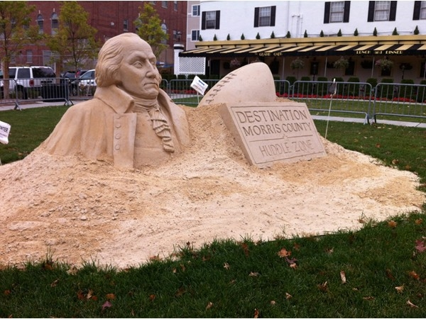 Sand sculpture next to The Grand Cafe in Morristown